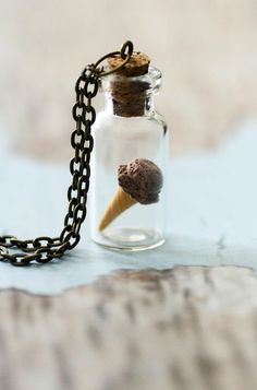 Chocolate IceCream Necklace. Miniature Food