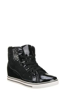 Lace High Top Wedge Trainers
