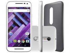 "Smartphone Motorola Moto G 3ª Geração Turbo 16GB - Branco Dual Chip 4G Câm. 13MP + Selfie 5MP Tela 5"""