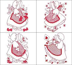 """""""5x7 Redwork Sunbonnet of the Month"""" Includes 12 sweet #machineembroideryredwork designs. Each darling sunbonnet is themed, so for Valentine's Day, our sunbonnet is surrounded by hearts, one has a sparkler to celebrate the 4th of July, to mention only two of the sunbonnets in this delightfully detailed set!"""