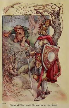 Prince Aruther and the dwarf in the forest Illustration by Frank Cheyne Pape