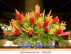 tropical floral arangements -ginger and haleconia horizontal