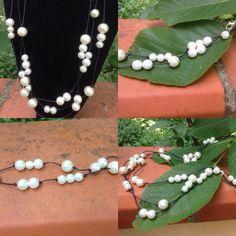 #collana e #bracciale in #filo di #cotone #nero con #perle #sintetiche varie. #fattiamano.  #necklace & #bracelet in #black #cotton #wire and #sintetic #pearls. #handmade.  #collar con #pulsera en #algodon #negro con #perlas #sinteticas. #hechosamanos.  more on www.oro18.eu #oro18