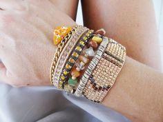multi strand wristband, hipanema-brazilian bracelet in shades of orange and gold, boho style by What2WearByNana on Etsy