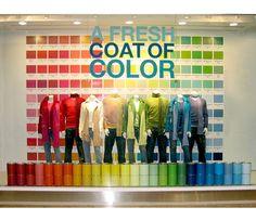Colourblocked window display. #retail #merchandising #windowdisplay #colourblock