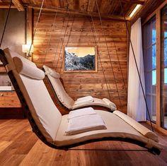 ◇Home Spa Bath◇ Swinging Loungers in sauna anti-room Home Spa Room, Spa Rooms, Sauna House, Sauna Room, Home Design, Interior Design, Design Ideas, Sauna Design, Relaxation Room