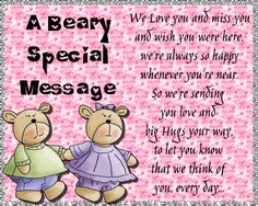 Free online Beary Special Message ecards on Everyday Cards I Think Of You, Wish You Are Here, Told You So, Love You, Morning Hugs, Morning Wish, Healing Wish, Miss You Cards, Wishes For You