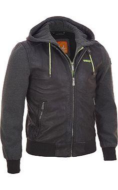 Sneaux Faux-Leather Sweatshirt Jacket w/ Hood - #WilsonsLeather #sneau