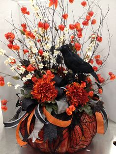 Fall Floral Arrangements At Michaels | My Floral Designs @ Michaels / Black & Orange Pumpkin