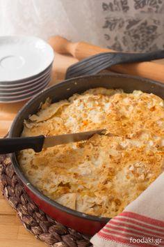 Traditional Pontic Greek pie with fresh goat's cheese and Parmigiano Reggiano - Ποντιακή πίτα περέκ με ξινομυζήθρα και παρμεζάνα