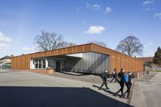 Completed in 2013 in London Borough of Sutton, United Kingdom. Images by Tim Crocker . Fraser Brown MacKenna Architects designed a classroom suite for Carshalton Boys Sports College in South London. The building is clad in perforated...