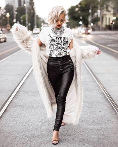 Coat: tumblr fur white fur white pants black pants black leather pants leather pants sandals sandal