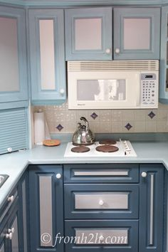 These cabinets were painted a lighter color on top, and a darker color on the bottom | How to Paint Melamine Kitchen Cabinets