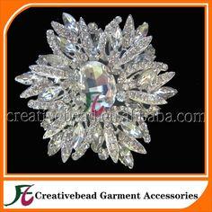 Bouquet Bridal Flower Clear Rhinestone Crystal Brooch Pin Bridesmaid Jewelry