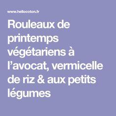 Rouleaux de printemps végétariens à l'avocat, vermicelle de riz & aux petits légumes