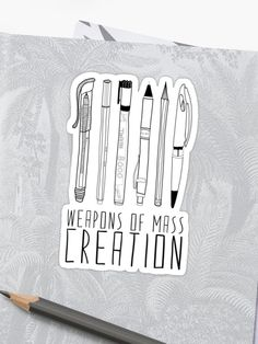 Weapons of Mass Creation sticker for notebooks, bullet journals, laptops, and planners. Beautiful stickers for creators Monthly Bullet Journal Layout, Bullet Journal Mood Tracker Ideas, Bullet Journal Headers, Bullet Journal Travel, Bullet Journal Quotes, Bullet Journal Banner, Bullet Journal How To Start A, Bullet Journals, Journal Ideas