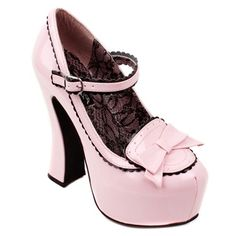 Bow Front Platform Mary Jane Shoes, Pink patent Gothic Lolita Mary Janes