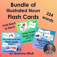 Picture Word Flash Cards for Long and Short Vowels and Tricky Sounds Bundle