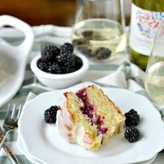 Lemon and Blackberry Ricotta Pound Cake with Chardonnay Glaze! Yup, wine drizzled all over the cake!