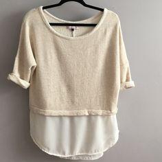 Sweatshirt top w/chiffon hem Cute cozy top with attached chiffon hem. Roll 3/4 sleeves. Loose and flowy casual. Bershka collection Tops Sweatshirts & Hoodies