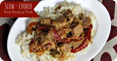 Thai peanut pork with red peppers- quick freezer meal for the slow cooker