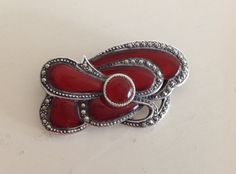 Art Nouveau Carnelian Sterling Silver Brooch with Pyrite or Marcasite