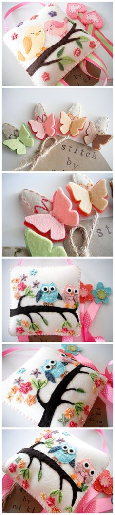 tiny felt butterflies, owls and birds