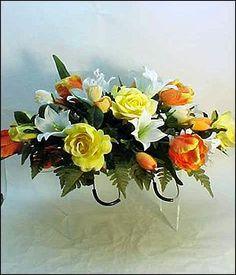 Headstone memorial tombstone cemetery silk flower saddle wreath silk cemetery saddle mightylinksfo