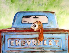 Basset Hound Print  Hound Dog Blues Watercolor by PaintedbyCarol