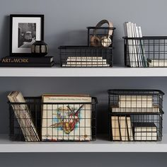 Made of metal and finished with a matte black coating, our Urban Stacking Baskets feature an open wire design and integr Wire Basket Decor, Black Wire Basket, Wire Basket Storage, Wire Storage, Metal Baskets, Pantry Storage, Basket Decoration, Baskets On Shelves, Produce Storage