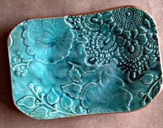 Malachite GREEN Lace Trinket  Dish Soap Dish edged in by dgordon