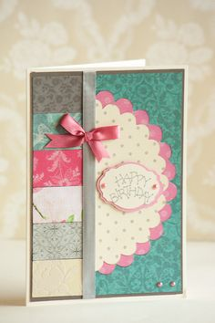 Happy Birthday Anniversary Pink Turquoise Handmade Greeting Card with Envelope
