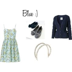Blue dress combo! Love it all except the shoes.