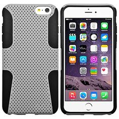 "myLife 2 Layer Neo Hybrid Bumper Case for iPhone 6 Plus (5.5"" Inch) by Apple {Cool Gray + Black ""Perforated Mesh Net Creative Design"" Two Piece SECURE-Fit Rubberized Gel} myLife Brand Products http://www.amazon.com/dp/B00P9ZRQ1C/ref=cm_sw_r_pi_dp_1Q5yub05EQWJM"