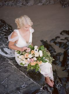 Joanne Fleming Design: A dreamily romantic bridal inspiration shoot on the Oregon coastline.....featuring the 'Galatea' gown....Photography; @ArchetypePhoto  Styling & Floral Design; @theforagedfern  / Gown; Joanne Fleming Design / Hair Adornments;  @sibodesigns   / Make-up; Reina Allen /  Hair; Terilyn Brown / Model; Keli Starkey / Film Scans; @Richard Photo Lab