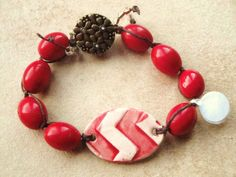 Artisan Chevron Red White Vintage Bead Bronze by kristibasket, $38.00