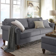 Pier 1 Imports Alton Graphite Gray Rolled Arm Sofa ($800) ❤ liked on Polyvore featuring home, furniture, sofas, charcoal sofa, dark grey couch, nailhead sofa, dark gray sofa and roll arm sofa