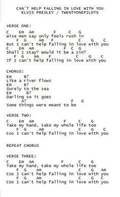 Guitar chords to can't help falling in love by Elvis Presley • • • This song is so beautiful I can't even