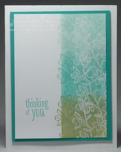 http://dreamingaboutrubberstamps.com - Sponging, stamping and embossing combine to make this Stampin' Up! Peaceful Petals stamp set color rainbow card