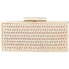 Dune Bell Jewel Embellished Box Clutch Bag, Nude (275 RON) ❤ liked on Polyvore featuring bags, handbags, clutches, purses, evening purse, special occasion handbags, glitter purse, over the shoulder handbags and chain purse