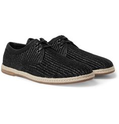 Dolce & Gabbana - Leather-Lined Woven-Straw Espadrilles|MR PORTER