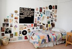 "Indie bedroom. ""All that is gold does not glitter. All those who wander are not lost."""