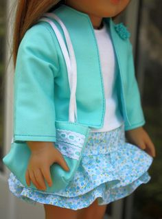 free doll clothes patterns for 18 inch dolls such a cute outfit! Doll Clothes Ideas by Patti Farran Everroad Sewing Doll Clothes, Sewing Dolls, Girl Doll Clothes, Girl Dolls, Ag Dolls, Ropa American Girl, American Girl Crafts, American Doll Clothes, Doll Sewing Patterns