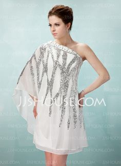 Cocktail Dresses - $146.59 - Sheath One-Shoulder Knee-Length Chiffon Cocktail Dress With Beading Sequins (016008331) http://jjshouse.com/Sheath-One-Shoulder-Knee-Length-Chiffon-Cocktail-Dress-With-Beading-Sequins-016008331-g8331