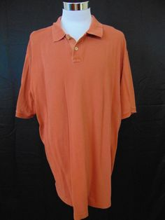 Eddie Bauer Cotton Polo Shirt Orange Short Sleeve XXL Tall #1075 #EddieBauer #PoloRugby