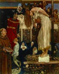 William Russell Flint - 'As she was at the fire to take her execution, young Tristram kneeled before King Meliodas, and besought him to give him a boon ...' from ''Le Morte d'Arthur: The Book of King Arthur and his Noble Knights of the Round Table'' (1910-11)