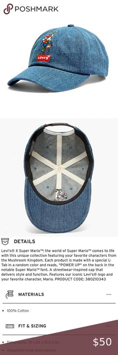 NWT LEVI/'S  X SUPER MARIO SNAP BACK HAT Limited item special offer today!!