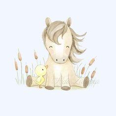 Un lindo gatito navideño, miaaaauuuuu 😆🐈 Nursery Drawings, Baby Animal Drawings, Cartoon Drawings Of Animals, Horse Drawings, Cute Drawings, Watercolor Horse, Watercolor Animals, Cute Baby Horses, Horse Nursery