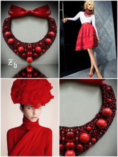 Red and coral z'ett bijou necklace