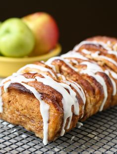 Cinnamon Apple Pull Apart Bread - Garnish with Lemon Made with frozen bread dough-  easy and delicious!